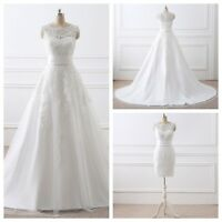 White/Ivory Bridal Tulle A-line Wedding Dress In Stock Size 2 4 6 8 10 12 14 16