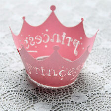 12pcs Paper Cupcake Princess Crown Pattern Wrappers Wedding Birthday Decor Party