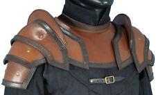 Leather Shoulder Pauldrons, NeckGuard, Larp Armor, M, L, Armour, Medieval