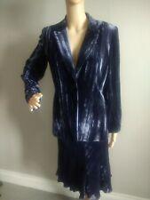 Vintage Velvet Skirt Suit. Blue. Size 10/12.