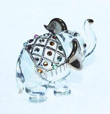 Elefante figura Dollhouse Miniatures ANIMALI Swarovski crystal da collezione.