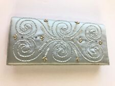 Vintage 50s Beaded Evening Bag Clutch Handbag Pale Blue Coin Purse Made In USA