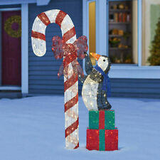 Christmas Indoor Outdoor 6ft Penguin With Candy Cane Gift Boxes 240 LED Lights