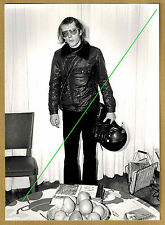 Photo 13 x 18 vintage homme motard casque moto gant blouson mode 1975 gd016