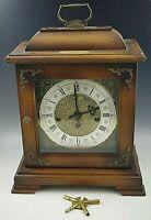 HAMILTON WESTMINSTER CHIME BRACKET MANTLE CLOCK W/KEY 71 340-020 W. GERMANY NM
