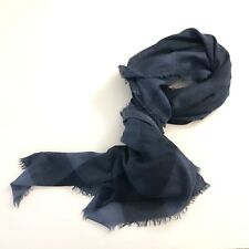 "COACH Denim Modal Silk Windowpane Challis 54"" Square Wrap Scarf Shawl NWT Italy"