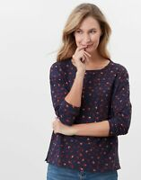 Joules Womens Marina Print Dropped Shoulder Jersey Top - Navy Leopard
