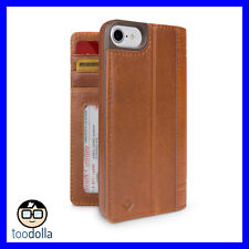 TWEVE SOUTH Journal genuine leather folio wallet case, iPhone 7/8, Cognac Brown