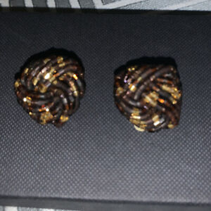 Vintage Style Knot Twist Clip-on Earrings Glass Beads BROWN  Costume Jewellery