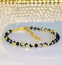 "10"" Aurora Borealis JET AB  Swarovski Crystal Element  Ankle Anklet Bracelet"