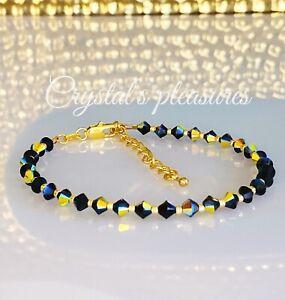 "9"" Aurora Borealis JET AB  Swarovski Crystal Element  Ankle Anklet Bracelet"