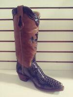 New Ferrini Women Leather Western Cowboy Western Print Python, Brown, V Toe 9.5