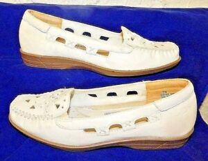 Vintage Dr. Scholl's 7W White Women's Loafers Double Air-Pillo Leather Shoes