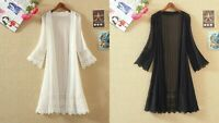 Summer Women Cardigan Plus Size Lace Blouse Long Sleeve Casual Elegant Kimono