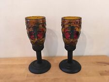 Pair Vintage Old World Medieval Stained Glass Metal Sconce Like Candle Holders