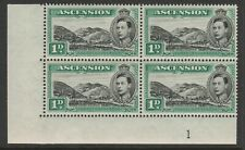 Ascension 1938-53 George VI 1d in Plate block SG 39 Mnh.