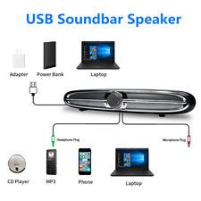 USB Powered Computer PC Speaker Soundbar AUX Audio Stereo Subwoofer Music Player