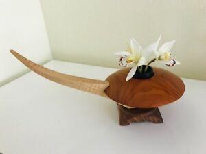 Exotic Wooden Ikebana -Asian Style -Iron Flower Frog - Signed Joe Kovecses