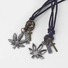 1pcs Marijuana Weed Leaf Cross Egypt Pendant Genuine Leather Choker Necklace