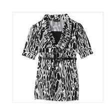 My Michelle Girls Animal Print Blouse Top Shirt w Belt M 10 12 NWT Black White