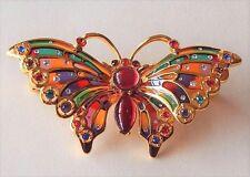 Joan Rivers Plique-a-Jour Stained Glass Brooch Pin Rhinestone Butterfly Enamel