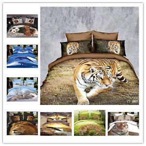 TRUYOO 3D Effect Bedding Set Duvet Cover 100% Satin Cotton - Animal