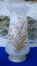 V25 Vase Opaline Emaillée Décor Fleurs Verre Opalin XIXeme Nap III