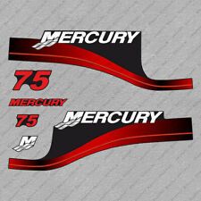 Mercury 75 hp Two Stroke outboard engine decals RED sticker set reproduction