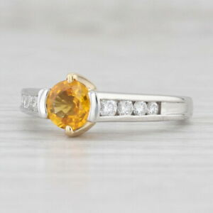 1.10ctw Yellow Orange Sapphire Diamond Ring 18k Gold Platinum Sz 7.25 Engagement