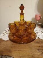 Tiara Indiana Glass Amber 11 Piece Wine Set Sandwich Tray, Decanter & 8 Goblets