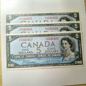 1954 Canada 5 Dollar Bill x3 Consecutives UNC GEMS 407-409