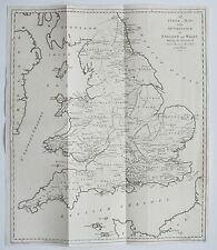 1787 England & Wales Index to the Antiquities Map Hooper Genuine Antique