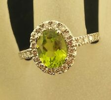 Vintage 14k White Gold lime green Peridot Surrounded by Diamonds Ring Size 9