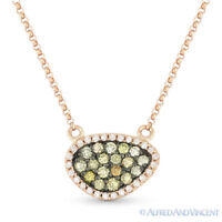 0.37ct Fancy-Color Diamond Pave Pendant & Rolo Necklace in 14k Rose & Black Gold