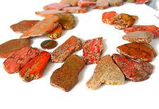 "15"" 25mm 35mm Terra Impression Jasper orange slab freeform beads top drilled"