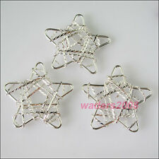 3 New Charms Silver Plated Hollow Star Pendants Connectors 39mm