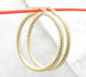 """1.5"""" Technibond Full Diamond Cut Hoop Earrings 14K Yellow Gold Clad Silver"""