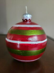 Yankee Candle Red White Green Ornament Ball Shaped Christmas Candle Unscented