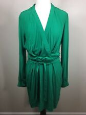 Asos Belted Faux Wrap Long Sleeve Career Dress Tulip Shape Bottom Green 8
