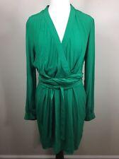 Asos Belted Faux Wrap Long Sleeve Career Dress Tulip Shape Bottom Green 8