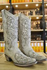 Corral Ladies White Glitter Inlay And Crystals Snip Toe Wedding Boots A3322 SALE