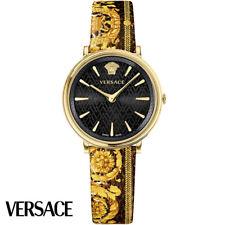 Versace VBP130017 V-Circle Tribute Edition schwarz gold Leder Damen Uhr NEU