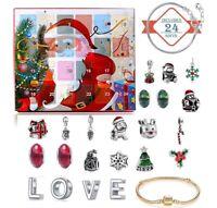 Sales! Christmas Advent Calendar Barcelet Gift Girls Kid Xmas 24 Days Countdown