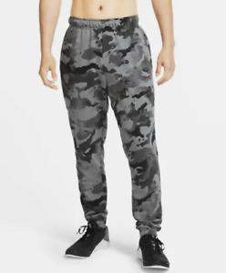 Nike Dri-FIT Men's Camo Training Pants Joggers CU6200-010 Black Grey Taper Legs