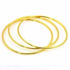 3pc 24K Yellow Gold Filled Bangle Bracelet 65mm Women's GF Charm Wedding Jewelry