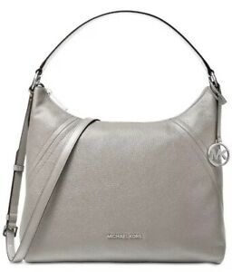 ❤️ NWT Michael Kors Aria Pebble Leather Pearl Grey/Silver Shoulder Bag