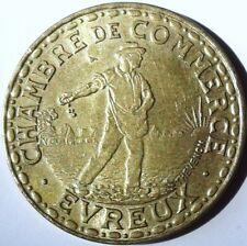 EVREUX .1 FRANC 1922 CHAMBRE DE COMMERCE.BRONZE / ALUMINIUM. 24 MM