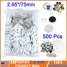 "Diy 2.95""/75mm 500Sets Pin Badge Button Parts Supplies for Pro Button Maker Us"
