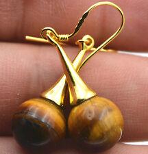 Beautiful Natural  Tiger Eye Gemstone 925 Silver Gold-plated/Dangle Earrings