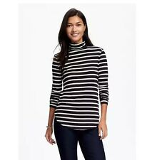 Old Navy Semi-Fitted Turtleneck Top New Gray& Stripe Long Sleeve Shirt P/M P/XXL